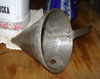 antique german tin strainer