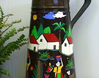 Bold and Beautiful Hand Painted Folk Art Tin Jug