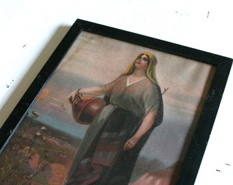 Vintage Picture, Woman Carrying Jug, BEAUTIFUL