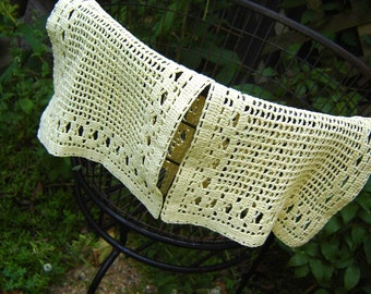 Beautiful Vintage Pastel Yellow Fillet Crochet Scarves