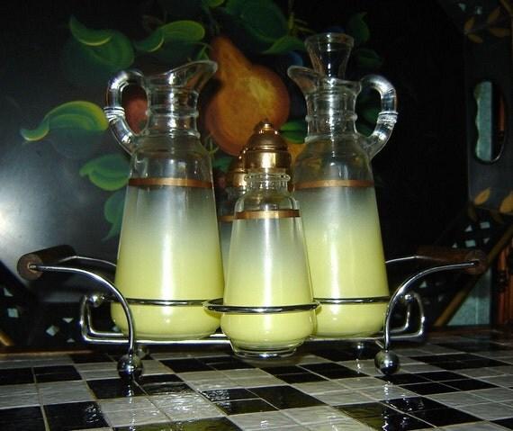 RESERVED FOR MEGAN Retro Modern West Virginia Frosted Yellow Blendo Oil, Vinegar, Salt and Pepper Cruet Set