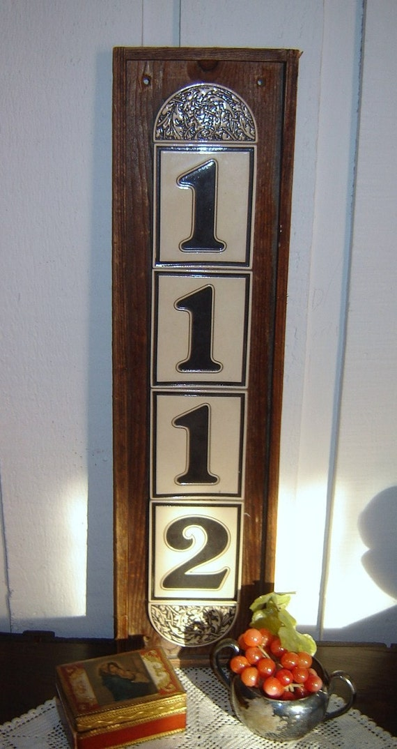 Old german tile house number plaque no 1112 for Classic house number plaque