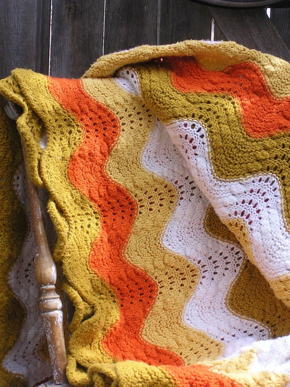 Vintage Knit Afghan or Throw, Large and Stunning