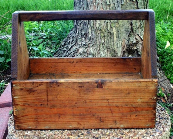 Rustic, Modern Country Decor Wood German Tool Box with Drawer