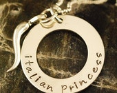 ITALIAN PRINCESS with HORN - Hand Stamped Necklace