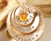 Hand Stamped Mommy Necklace, Personalized Necklace - Triple Domed Handstamped Necklace
