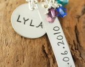 Personalized Hand Stamped Necklace, Mommy Necklace, Mother Gift,  Birthstone Jewelry, Sterling Silver
