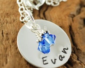 Hand Stamped Necklace, Personalized Jewelry, Sterling Silver, Mommys Necklace, Name Jewelry