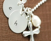 Hand Stamped Necklace - Tiny Disc with Cross & Pearl -  Initial Jewelry