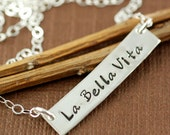 Personalized Necklace, Sterling Silver Rectangular Bar, Mother Jewelry, Hand Stamped Jewelry, La Bella Vita