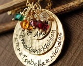 Hand Stamped Mommy Necklace, 14kt Gold Filled Necklace, Personalized Jewelry, Birthstone Necklace