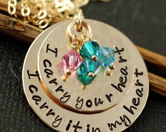 I Carry your Heart with me Necklace, E. E. Cummings, I carry your Heart Jewelry, Inspirational Necklace, I Carry your Heart in my Heart