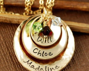 Hand Stamped Necklace, 14kt Gold Filled Necklace - Custom - Personalized, Mommy Necklace, Mother Jewelry