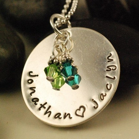 My Precious Kids with Birthstones - Hand Stamped Necklace - Lower Case Letters