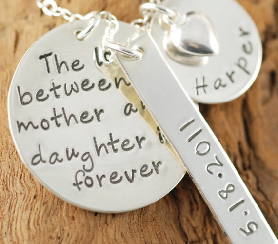 Hand Stamped Mommy Necklace, Love Between a Mother and Daughter,  Personalized Mommy Jewelry,  Keepsake Necklace