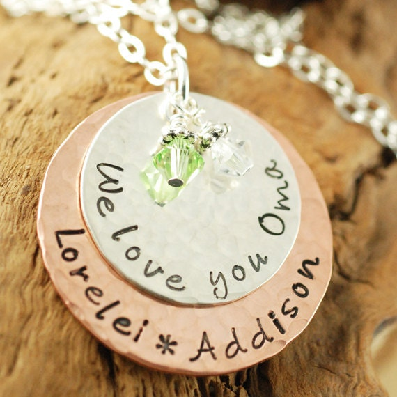 Hand Stamped Jewelry - Personalized Jewelry - We Love You Oma - Grandma Necklace