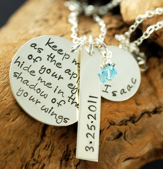 Hand Stamped Necklace,  Personalized Jewelry,  Keepsake Necklace, Psalms 17:8, Religious Verse, Spiritual Necklace