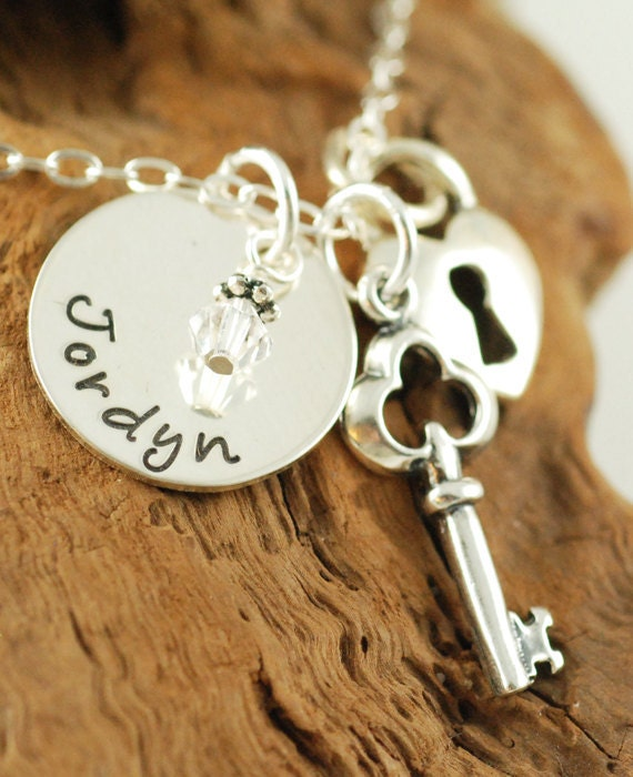 Personalized Jewelry, Handstamped Sterling Silver Necklace, Name Jewelry, Sterling Silver Key,  Heart Locket, Key to my Heart