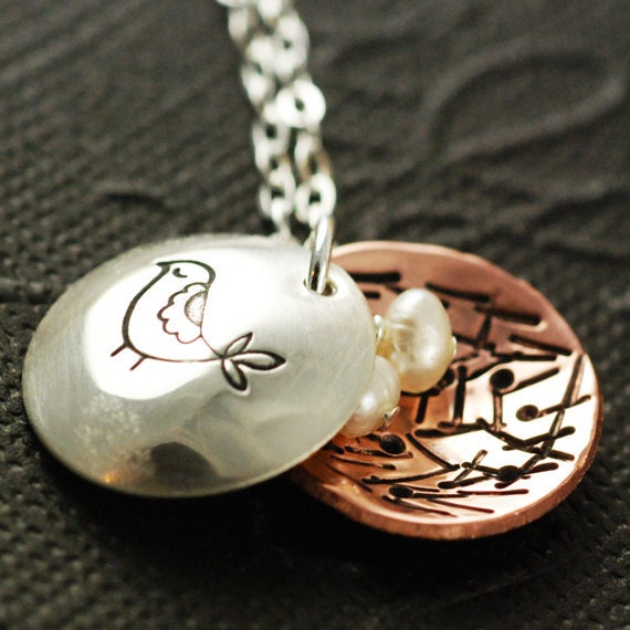 Mama Bird Necklace, Hand Stamped Mothers Necklace, Personalized Sterling Silver Jewelry, Copper, Nest Egg Necklace ( 3 or 4 EGGS)