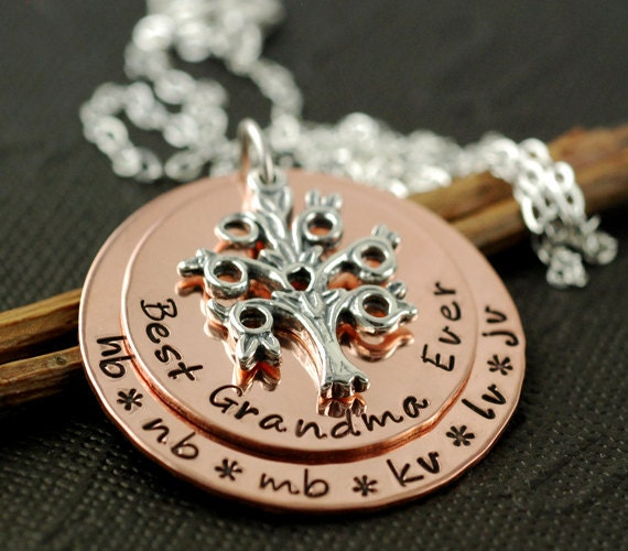 Hand Stamped Necklace, Personalized Jewelry, Copper Necklace, Best Grandmother Ever, Grandchildren Necklace