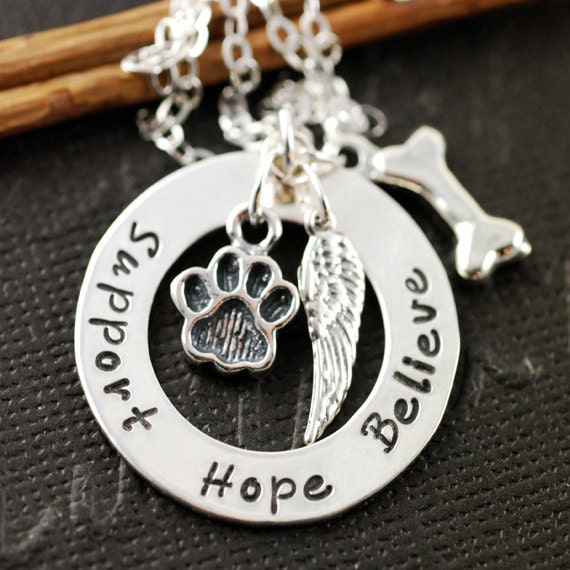 Dog Paw Necklace, Sterling Silver Necklace, Animal Lover, Dog Paw, Dog Bone, Pet Memorial Necklace, Angel Wing Necklace, Memorial Pet Gift