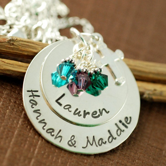 Hand Stamped Personalized Necklace - Sterling Silver Mommy Necklace - Birthstone Jewelry - Keepsake Jewelry - Cross Religious