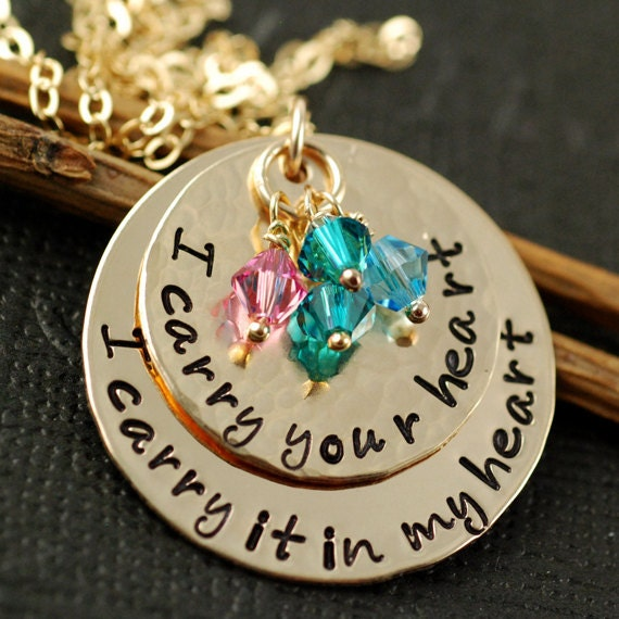 Hand Stamped Necklace, 14kt Gold Filled,  Layered Necklace, Personalized Gold Necklace, E. E. Cummings