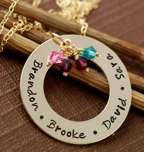 Personalized Mom Necklace, Family Necklace  Birthstone Necklace, Grandmother Jewelry, Gift for Grandma, Nana Gift, Gold Name Necklace