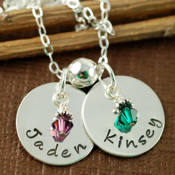 Personalized Jewelry - Mother Necklaces -  Name Necklace - Birthstone Crystals - Hand Stamped