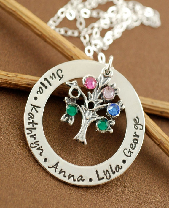 Circle Of Love, Family Tree Jewelry, Hand Stamped,  Sterling Silver Necklace, Personalized Family Tree Necklace