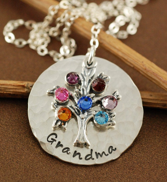 Hand Stamped Sterling Silver Necklace - Tree of Life, Family Tree, Family - Grandmother Necklace - Mommy Necklace