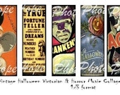 Victorian Halloween and Horror Movie 1x3 Digital Collage Sheet jewelry bookmarks backgrounds tags glass microscope slide - Uprint 300dpi