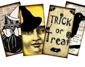 Vintage Halloween Silhouettes 1x2 Digital Collage Sheet - tags glass tile domino jewelry supplies - U-print 300 dpi jpg