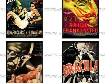 Retro Halloween Horror Movie Monsters No 5 Digital Collage Sheet 3x5 -  ATC ACEO tags postcard greeting cards - U print 300dpi jpg
