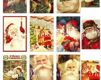 Jolly Old St. Nicholas Vintage 2x3 Tags Digital Collage Sheet Christmas Santa Claus Sinterklaas greeting cards Uprint 300jpg