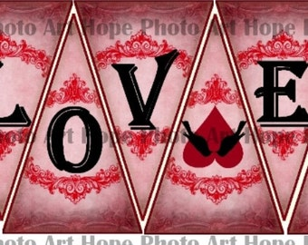 Valentine LoVe Birds Banner 3x4.5 Digital Collage Sheet garland party craft supplies pennant flags decoration bunting UPrint 300jpg
