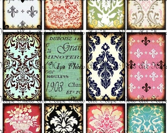 French Damask Backgrounds 2x3.5 Tags Digital Collage Sheet ATC ACEO greeting cards paper supplies - U Print 300dpi jpg sh180