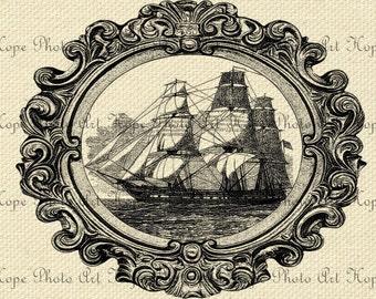 Sailing Ship 8.5x11 Digital Collage Sheet Image Collage Burlap Feed Sacks Canvas Pillows Tea Towels greeting cards  U-Print 300 dpi jpg