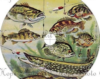 Vintage Fishing CD Cover Template 4 1/2 Circle digital collage sheet fathers day download CD DVD UPrint 300jpg