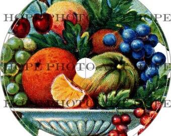 Vintage Fruit and Vegetable Bowl CD Cover Template - 4 1/2 size digital collage sheet download CD DVD - U Print 300dpi jpg sh200