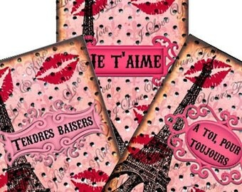 French Kisses Valentine Tags 2.5x3.5 Digital Collage Sheet eiffel tower paris Atc Aceo tags postcard greeting cards UPrint 300jpg