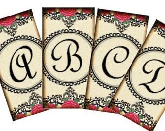 Shabby Cottage Rose Monogram 1x2 Digital Collage Sheet - patera tags glass tile domino jewelry pendants - U print 300dpi jpg sh119
