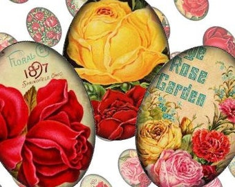Cottage Rose Garden 18x25mm Ovals Digital Collage Sheet jewelry cameo blank pendant settings paper supplies - U print 300dpi jpg sh276