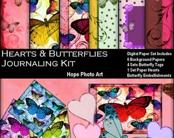 Hearts and Butterflies Digital Collage Sheet Journaling Kit - printable digital paper greeting cards paper supplies - U print 300jpg