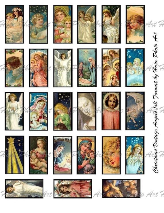 Christmas Vintage Angels 1x2 Digital Collage Sheet - tags scrabble glass tile domino microscope slide jewelry supplies - U-print JPG 300dpi