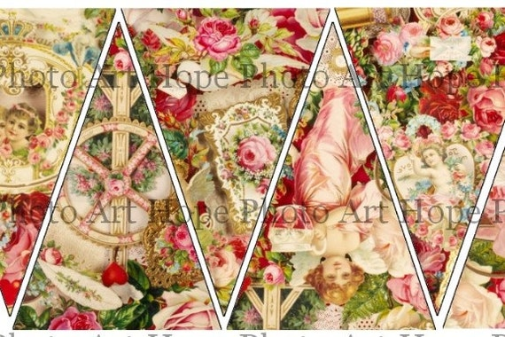 Victorian Hearts Cupids Roses Valentine Banner Digital Collage Sheet garland flags pennant decoration bunting UPrint 300jpg
