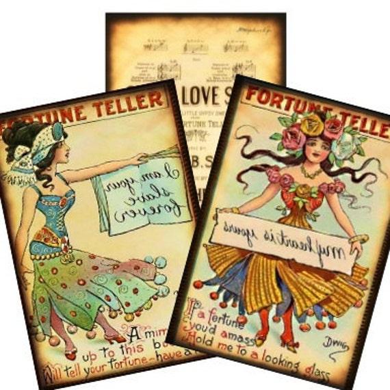 Vintage Gypsy Fortune Teller Halloween 2.5x3.5 Digital Collage