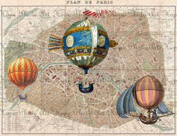 Le Balloons Over Paris French Map Digital Collage Sheet image transfer printable paper supplies - U Print 300 dpi jpg