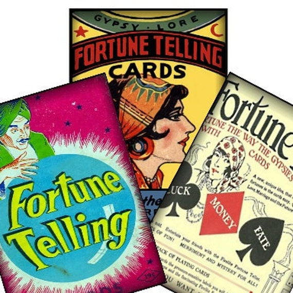 Vintage Fortune Teller Gypsy Advertisement Halloween 2.5x3.5 Digital Collage Sheet tags greeting cards postcard ATC ACEO UPrint 300jpg