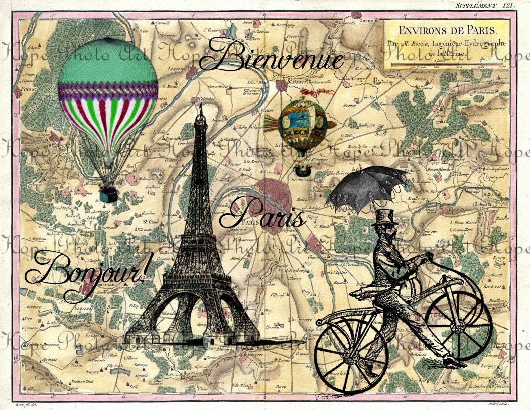 Bonjour De Paris French Steampunk Map Digital Collage Sheet